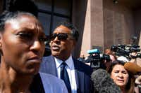 Dwaine Caraway leaves the Earle Cabell Federal Building on Commerce Street in downtown Dallas on April 5, 2019, after being sentenced to 56 months in a federal corruption case. Caraway had resigned after pleading guilty to accepting $450,000 in bribes and kickbacks in the Dallas County Schools bus scandal.(Shaban Athuman/Staff Photographer)