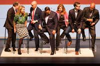 From left: Dallas mayoral candidates Mike Ablon, Lynn McBee, Miguel Solis, Jason Villalba, Regina Montoya, Scott Griggs and Albert Black at the conclusion of the Engage Dallas 2019 mayoral candidates forum hosted by the Mayor's Star Council at the Music Hall at Fair Park on March 8, 2019.(Smiley N. Pool/Staff Photographer)