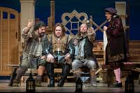 From left: Andrea Silvestrelli (as Pistola), Quinn Kelsey (Ford), Alex Mansoori (Bardolfo) and Robert Brubaker (Dr. Caius) perform in the dress rehearsal of the Dallas Opera's<i>Falstaff</i>at the Winspear Opera House in Dallas on April 23, 2019.(Allison Slomowitz/Special Contributor)