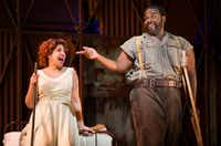 Indira Mahajan, who plays Bess, and Thomas Cannon, who plays Porgy, perform during a dress rehearsal of the Fort Worth Opera's production of <i>Porgy and Bess</i>.(Ashley Landis/Staff Photographer)