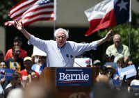 Democratic presidential candidate Sen. Bernie Sanders, I-Vt., speaks during a rally at Burnett Park in Fort Worth, Texas on Thursday, April 25, 2019. (Vernon Bryant/Staff Photographer)