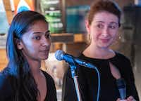 Aparna Kumar (left) and Anna Kuchment co-hosted the event. Kumar is a Dallas-based writer and producer, and Kuchment is a <i>Dallas Morning News</i> science reporter and a contributing editor for <i>Scientific American</i>.(Robert W. Hart/Special Contributor)