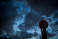 Clouds roll over Reunion Tower just after sunset on Wednesday, March 29, 2017, in Dallas. (Smiley N. Pool/Staff Photographer)