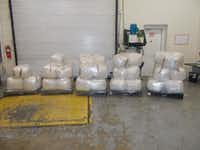 Packages containing 1,756 pounds of marijuana seized by CBP officers at World Trade Bridge in Laredo(U.S. Customs and Border Protection)