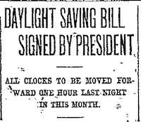 Daylight Saving Bill story in The Dallas Morning News in 1918.(The Dallas Morning News)