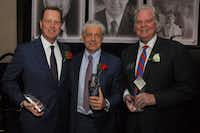 <p>Holt Lunsford (left), Fehmi Karahan and Chuck Dannis received the North Texas Commercial Association of Real Estate Professionals annual awards this week.</p>(Picasa/NTCAR)