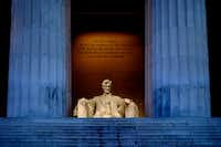The white marble of the Lincoln Memorial glows at sunrise and sunset.(Mark Tenally/The Associated Press)
