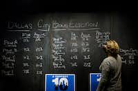 Laura Reed posts early voting results on a chalkboard during a  Dallas bond campaign election night watch party,(Smiley N. Pool/Staff Photographer)