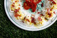 Baked Prosciutto Deviled Eggs (Rose Baca/Staff Photographer)