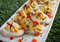 Andouille Sausage and Peppers Deviled Eggs (Rose Baca/Staff Photographer)