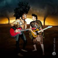 A battle between the Centaur (Symin Garcia) and Apollo (Kennedy Brooke Styron) plays out on guitars in Giant Entertainment's City Dionysia. Each night, the three-day festival will culminate with a production of the ancient Greek play <i>The Bacchae </i>at Annette Strauss Square.(Michael Albee Martinez)