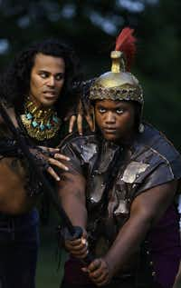 Raymond Govender and Dencia Baltimore rehearse <i>The Bacchae</i> at Kidd Springs Park.(Jason Janik/Special Contributor)