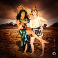 Raymond Govender as Medusa and Cameron Casey as Hercules in Giant Entertainment's City Dionysia.(Michael Albee Martinez)