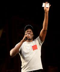 Hamilton cast member Kyle Scatliffe speaks to the audience during a Hamilton Education Program event at the Music Hall at Fair Park in Dallas on May 2, 2019. (Rose Baca/Staff Photographer)