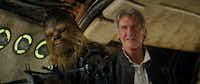 <i>Star Wars: The Force Awakens'</i>&nbsp;Chewbacca (Peter Mayhew) and Han Solo (Harrison Ford)