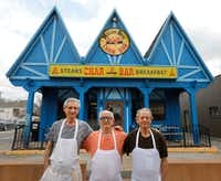 Fom left: Mike Melios, Tommy Melios and Gus Melios -- three of the four brothers who have owned and operated the Char Bar since 1972. This photo was taken in February 2018, the first time it was rumored that the Char Bar's days had come to an end.(David Woo/Staff Photographer)