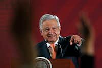 Mexican President Andres Manuel Lopez Obrador answers questions from journalists at his daily 7 a.m. news conference at the National Palace in Mexico City, Tuesday, April 9, 2019.(Marco Ugarte/AP)