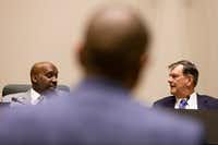 Dallas City Manager T.C. Broadnax (left, talking with Mayor Mike Rawlings) has been on the job two years. It will be up to the next mayor and council to assess his performance and determine the city's direction.(Shaban Athuman/File 2018 Photo)