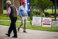 Early voters arrive at and exit Our Redeemer Lutheran Church, an early voting polling place, on Monday, April 29, 2019 in Dallas. The polling place is in Dallas City Council District 13, where incumbent Jennifer Staubach Gates faced challenger Laura Miller, a former mayor of Dallas.(Ashley Landis/Staff Photographer)