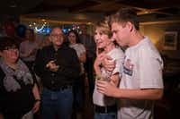 Former Mayor Laura Miller, who ran against incumbent Jennifer Staubach Gates for the Dallas City Council District 13 seat, gets a hug from her son Max as she addresses supporters during an election night watch party on Saturday, May 4, 2019.(Smiley N. Pool/Staff Photographer)