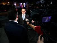 Scott Griggs talks to the media as he waited for final election results to make sure he made the runoff in the  Dallas Mayors race at Tree in Dallas on Saturday, May 4, 2019. (Brian Elledge/The Dallas Morning News)(Brian Elledge/Staff Photographer)
