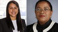 Karla Garcia, left, and Camile D. White, right, will likely be in a runoff for the District 4 seat on the Dallas school board, according to incomplete and unofficial results.