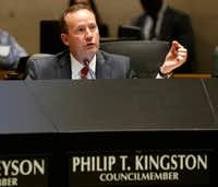 """<p><span style=""""font-size: 1em; background-color: rgb(255, 255, 255);"""">\</span><span style=""""font-size: 1em; background-color: transparent;"""">While some constituents fault Dallas City Council member Philip Kingston for what they consider boorish behavior and questionable ethics, others say he has a strong record of exposing corruption.</span></p>(Vernon Bryant/Staff Photographer)"""