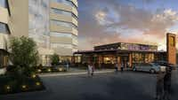 """<p><span style=""""font-size: 1em; background-color: transparent;"""">A new retail building with restaurant space will be added to the project at Belt Line Road and the Dallas North Tollway.</span></p>(<p><span style=""""font-size: 1em; background-color: transparent;"""">Perkins + Will</span></p>)"""