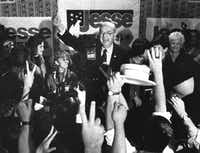Sen. Jesse Helms, R-N.C., gives the thumbs-up to his supporters at the Brownstone Hotel during his victory speech on Nov. 6, 1990.(Chris Steward/MCT)