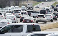 Traffic backs up at evening rush hour on U.S. Highway 380 near Lake Forest Drive in McKinney this spring. The Texas Department of Transportation unveil its recommendation for a new and improved Highway 380 on Monday.(Ashley Landis/Staff Photographer)