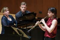 Erin Hannigan (oboe) and Anastasia Markina (piano) perform the Sonata for oboe and piano by Herbert Howells.(Smiley N. Pool/Staff Photographer)