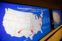 A map shows when and where individuals transported contraband out of DFW International Airport during a news conference at the Earle Cabell Federal Building in Dallas on Tuesday, May 15, 2018.(Rose Baca/Staff Photographer)