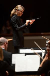 Guest conductor Karina Canellakis leads the Dallas Symphony Orchestra at the Meyerson Symphony Center in Dallas on May 9, 2019.(Allison Slomowitz/Special Contributor)