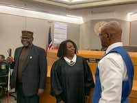 "<p></p><p>Stanley Mozee (left) and Dennis Allen (right) were declared ""actually innocent"" Friday by state District Judge Raquel ""Rocky"" Jones in the 1999 murder of the Rev. Jesse Borns Jr. Prosecutors withheld evidence that could have helped them at trial and DNA evidence excludes them as the killers. Law enforcement is searching for the true killers, who murdered Borns in his South Dallas woodworking shop by stabbing him 47 times.</p><p></p>(Jennifer Emily/Staff)"
