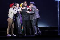 Coby Rogers, a senior at Frenship High School near Lubbock, is congratulated upon winning the Best Leading Actor Award at the High School Musical Theatre Awards at the Music Hall at Fair Park on May 9, 2019. The event is sponsored by Dallas Summer Musicals.(Chris Waits/Dallas Summer Musicals)