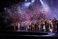 Confetti flies at the end of the High School Musical Theatre Awards at the Music Hall at Fair Park on May 9, 2019. The event is sponsored by Dallas Summer Musicals.(Chris Waits/Dallas Summer Musicals)