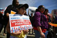 Demonstrators rallied at the Supreme Court in Washington, on April 23 to protest a proposal to add a citizenship question in the 2020 census.(Mandel Ngan/Agence France-Presse)