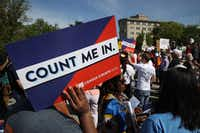 Protesters gathered outside the U.S. Supreme Court as the court heard oral arguments in the Commerce vs. New York case on April 23 in Washington. The case highlights a question about U.S. citizenship included by the Trump administration in the 2020 U.S. census.(Win McNamee/Getty Images)