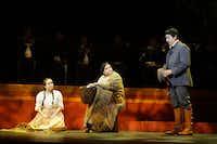 Abigail Santos Villalobos (as Amorita), Vanessa Cerda-Alonzo (Juana) and Daniel Montenegro (Luis) star in the Fort Worth Opera's production of <i>El pasada nunca se termina.</i>(Lawrence Jenkins/Special Contributor)