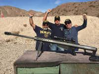 "From left: John Diciaula, Mark Lampe and Eddie Aguilar gathered Veterans Day weekend 2016 for an informal reunion in Las Vegas. During a visit to an area gun club, Aguilar recalled, ""I didn't know what kind of big ol' sniper gun that was, but they let us shoot it.""(Photo from Eddie Aguilar)"