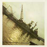 The USS Oklahoma City, the ship to which Eddie Aguilar was assigned, in Yokosuka, Japan, in 1973.(Photo from Eddie Aguilar)
