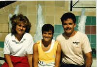 <p>Traci Provence (left) and Laura Anton with soccer coach Tristan Longnecker during the 1986 Olympic Festival in Houston. (Special to The Dallas Morning News)<br></p>