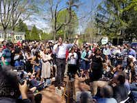 Beto O'Rourke stumps at the Town Hall Common in Exeter, N.H., on May 11, 2019.(Todd J. Gillman/Staff )