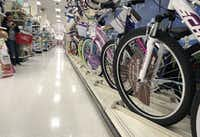 Bicycles produced in China are lined up for sale in a Target store on May 13, 2019 in Los Angeles, California. Prices on many goods imported from China, including bicycles, are likely to rise as President Trump enacted new tariffs on $200 billion worth of Chinese products. (Mario Tama/Getty Images)