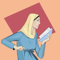 <i>Muslim Woman Reading</i>, an illustration by Fahmida Azim.