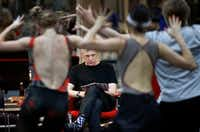 British director-choreographer Will Tuckett (center) observes Texas Ballet Theater dancers during a run-through of his epic version of <i>Pinocchio</i> in the TBT main studio in Fort Worth. The elaborate production making its U.S. premiere features 60 cast members in 150 roles, video projections and flying.(Tom Fox/Staff Photographer)
