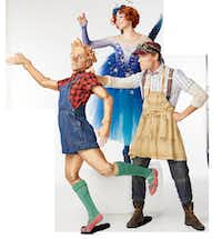 The title character (Drake Humphreys), the Blue Fairy (Nicole Von Enck) and Geppetto (Alexander Kotelenets) in Texas Ballet Theater's production of British choreographer Will Tuckett's <i>Pinocchio</i>.(Steven Visneau)