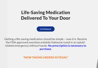 Fiduscript's website for naloxone is currently only shipping the drug to Texas addresses, though its founder expects that to change in a few months.(naloxoneexchange.com)