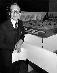 March 4, 1970 - Architect I. M. Pei is photographed with a model of his design for a new Dallas City Hal(LEE LANGUM/Staff Photographer)