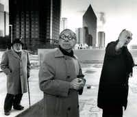 "Architect I.M. Pei (center) with Stanley Marcus (left) and sculptor Eduardo Chillida braved the Dallas cold to envision firsthand how Chillida's sculpture would look in front of Pei's Morton H. Meyerson Symphony Center.(File Photo/<p><span style=""font-size: 1em; background-color: transparent;"">Staff</span></p>)"